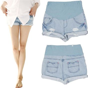 Maternity Jeans Clothes For Pregnant Women Summer Fashion Denim Shorts Hold Up Belly Capris Pants For Pregnant Women
