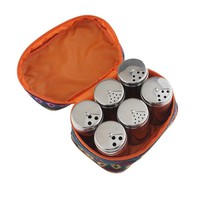6pc set of Outdoor Camping Seasoning Spice Holder Salt & Pepper Shaker Set Dispenser