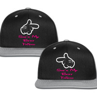 she's my best friend she is my best friend mickey hand pointing couple matching snapback cap