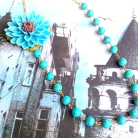 Turquoise resin chrysentemum necklace, resin, necklace, jewelry, , brass, jewelry, nature stone,tuquoise, chrysentemum