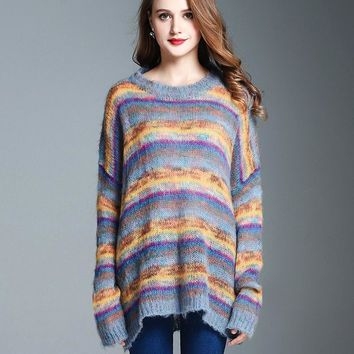 Female Autumn Winter New Soft Warm Mohair Rainbow Stripes Long Style Drop Shoulder Loose Knitting Sweater Coat Jumper