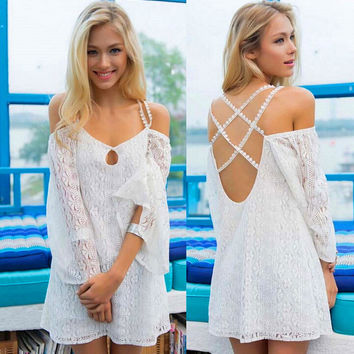 Off Shoulder Cross Back Lace Blouse