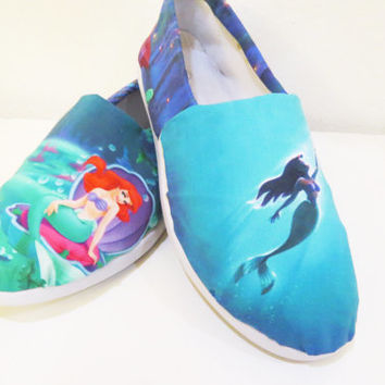The Little Mermaid Shoes (Toms, Ariel, Disney, Slip ons, Canvas, Flats, Flounder, Sebastian, Prince Eric, Princess) Men, Women, Kids, Youth,