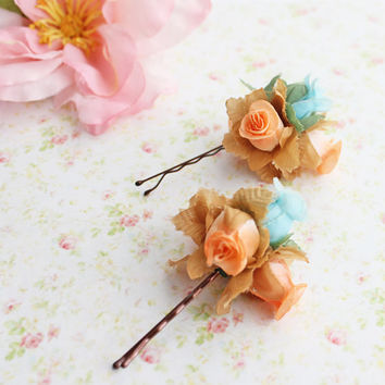 Coral and Turquoise Flower Bobby Pins. Beach Wedding. Flower Hair Pin. Whimsical. Flower Girl. Wedding. Bridesmaids. Hair Accessories.