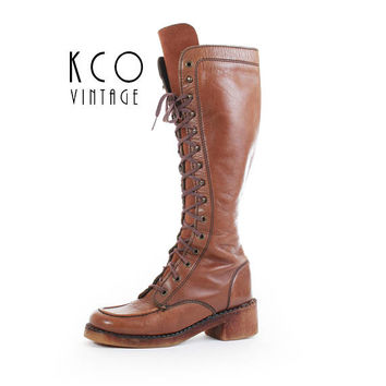 70s Boho Boots 7 / 6.5 Tall Lace Up Boots Knee High Leather Boots Brown Boots Hippie Boots Vintage Women's Size US 6.5-7 / UK 4.5-5 / EUR 37