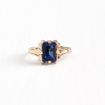 Vintage 10k Rosy Yellow Gold Created Blue Sapphire Ring - Size 3 Signed OB Ostby Barton Titanic Emerald Cut Stone Petite Fine Jewelry