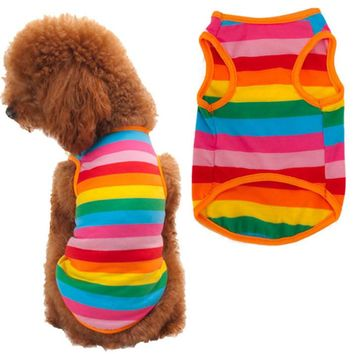 100% Brand New Home Fashion Rainbow Stripe Western Style Pet Dog Clothes1pcs Quality first