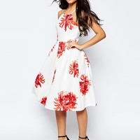 ASOS Full Midi Dress in Bright Floral Print at asos.com