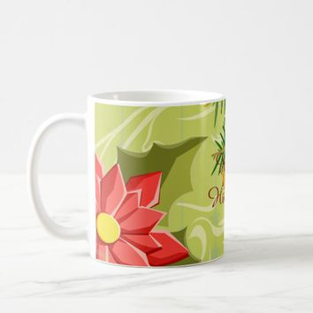 Abstract Golden Green Mint Christmas Mug