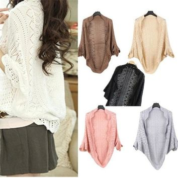 PEAPIX3 WL Ladies Crochet Knit Shawl Batwing sleeve Hollow Out Shrug Cardigan Top Sweater