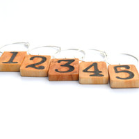 Number wine charms wood tree branch wine charms reclaimed wood housewares wine party wine gift