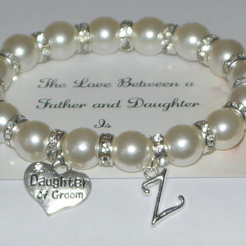 daughter of groom initial jewelry - father daughter - personalized unity - dad daughter wedding - husbands daughter - handmade bracelet