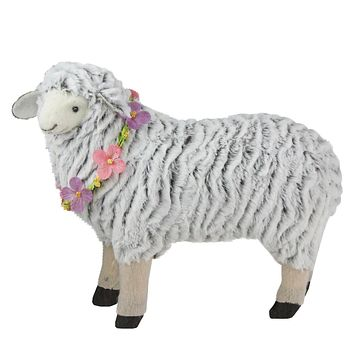 "13"" White and Black Plush Standing Sheep Spring Easter Figure"