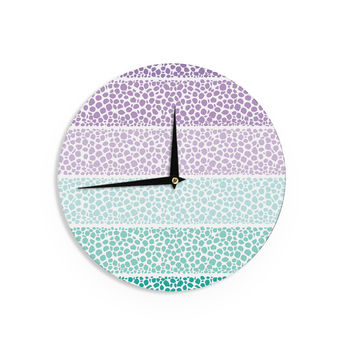 "Pom Graphic Design ""Riverside Pebbles Colored"" Purple Teal Wall Clock"