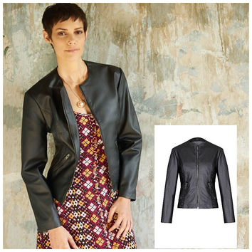Mary Faux Leather Black Collarless  Jacket