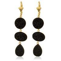 Two Year Warranty Gold Overlay with Black Teardrop Design Drop Druzy Earrings