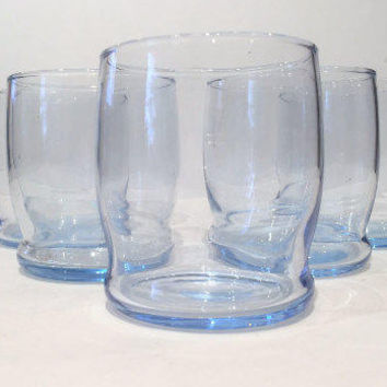 Libbey Azure Blue Glasses |Blue Tumblers, Vintage Lowball Bar Glasses,Ice Blue Glasses Set of 4 |Sky Blue Glasses