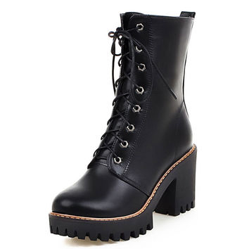Brand New Designer Womens  Riding Motorcycle Heel Ankle Boots Punk Gothic Platform Lace Up Creeper Shoes Plus Size