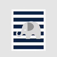 Gray Elephant on Navy Stripes Print , Baby Nursery Art, CUSTOMIZE YOUR COLORS, 8x10 Prints, nursery decor nursery print art baby room decor
