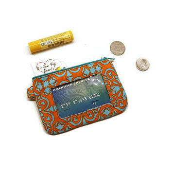 Orange and turquoise Damask zippered id card wallet keychain, coin purse, change pouch.