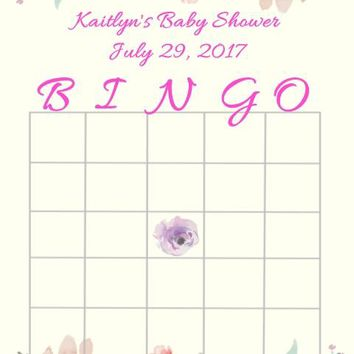 10 Watercolor Floral Baby or Bridal Shower Bingo Cards
