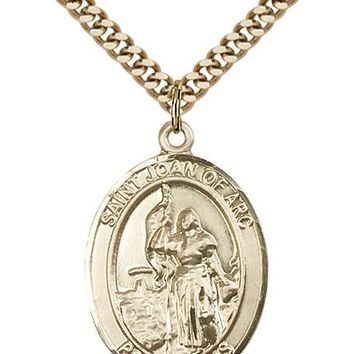 14K Gold Filled St Joan Of Arc Coast Guard Military Catholic Medal Necklace