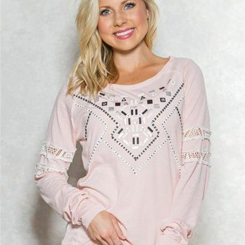 Studded Lace Band Graphic Top