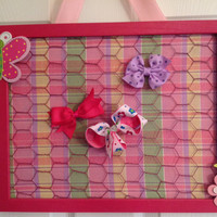 Hair bow display organizer holder board jewelry Upcycled Frame chicken wire pink yellow green flower butterfly embellished custom  welcome