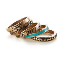 Stacked Gold-Tone Ring 5-Pack