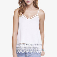 White Crochet Trimmed Trapeze Cami from EXPRESS