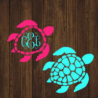 Sea Turtle Monogram Decal - Monogram Turtle Decal - Monogram Car Decal - Monogram Decal - Car Decal - Monogram Turtle Decal - Turtle Decal