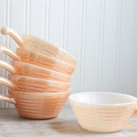 Set 6 Vintage Peach Fire King Bowls with Handles,  Lusterware Oven Safe Soup or Ice Cream Bowls
