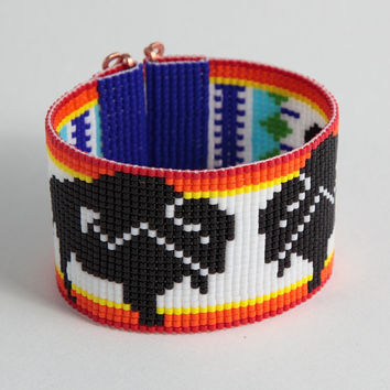 Native American Style Buffalo Beaded Cuff Bracelet - Arrow Design - Bead Loom -Tribal - Seed Bead - Southwesetern - Hippie - Bright Colorful