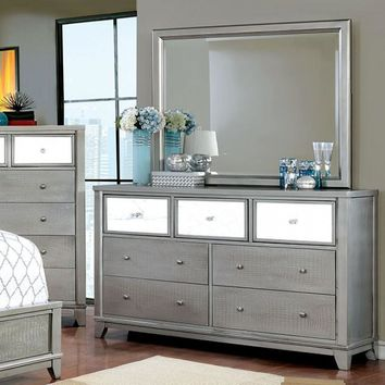Dazzling Wooden Textured Dresser In Contemporary Style, Silver