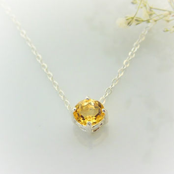 Citrine Necklace - November Birthstone Jewelry - Floating Diamond Necklace - Dainty Citrine Necklace - Crystal Citrine