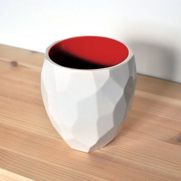 Modern ceramic thermo tea cup - dual walled isolating cup hot drinks in polygons - Poligon thermo Cup
