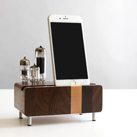iPhone 6/6 Plus charging station butcher block from walnut wood with triple electron tubes - rounded edges