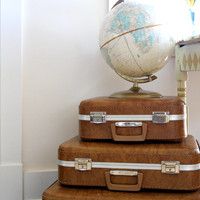 Set of 3 Vintage Suitcases // Luggage Set / Brown / Retro Travel
