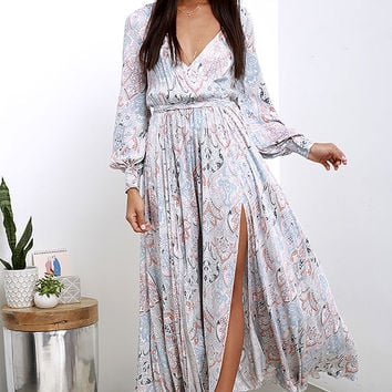 Psyche-Dahlia Blue and Pink Floral Print Maxi Dress