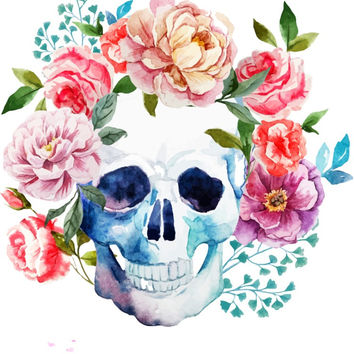 FLOWER POWER SKULL !White T-shirt! V or ROUND NECK! CUSTOM MADE FOR YOU!
