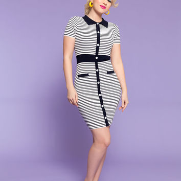 Kiki Striped Button Front Knit Shirt Dress in Navy and White
