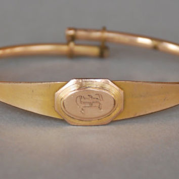 Antique Victorian Baby Bracelet Gold Filled Bangle Adjustable Monogram Initial F Small Wrist Child Size HDM Early 1900's // Vintage Jewelry