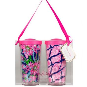 Lilly Pulitzer Trippin Navy and Cute as Shell Insulated Tumbler, Set of 2 | Dillards.com