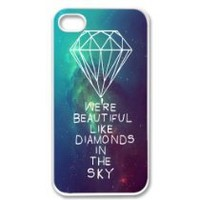 Apple iPhone 4 4G 4S Rihanna Inspired We're Beautiful Like Diamonds In the Sky Nebula Stars Hipster WHITE Sides Slim HARD Case Skin Cover Protector Accessory Vintage Retro Unique AT&T Sprint Verizon Virgin Mobile