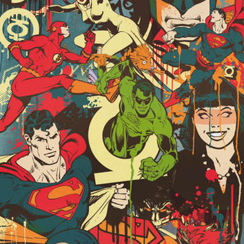 DC Comics Superheroes and Villains Throwback Poster 22x34