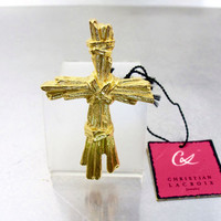 Christian Lacroix Pendant Brooch. Bamboo Gold Ribbed Textured Christian Lacroix Cross Brooch Pendant. French Designer Runway Jewelry