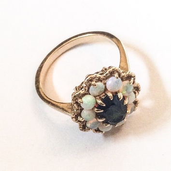 Green Tourmaline Opal Ring 14K Gold Ring VIctorian Vintage Jewelry