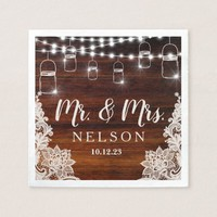 Lights and Lace Rustic Wood Wedding Napkin