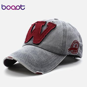 BOAPT patchwork ripped cotton embroidery letter casual summer baseball cap vintage snapback hip hop caps women hats for men