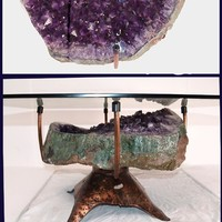 """Elen Importing & Designs Inc.: Amethyst Geode coffee table #28 Hand Forged Base 36""""x 36 x 18"""" Tall (Geode 26""""x 24""""x 9"""" Thick) {Inqu"""